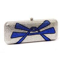Luxurious dress clutch bag bow celebrity hand bag Crystal Rhinestones Women Mini Evening Clutches Bags Wedding Bridal Hardcase