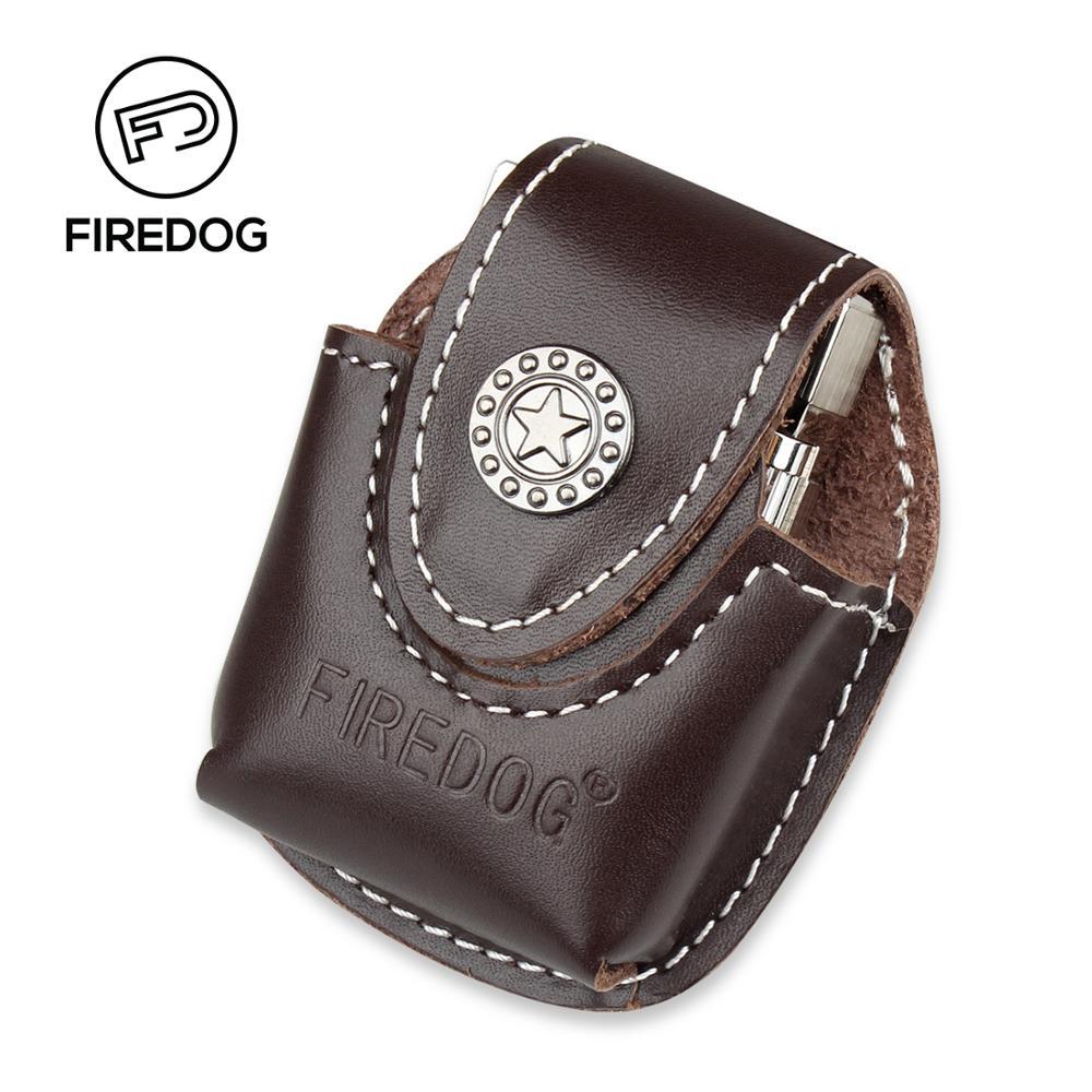 Firedog Fliptop Բնական կաշվե թեթև քսակ կրպակով մետաղապլաստե կրիչով ZIPPO- ի յուղազերծիչով