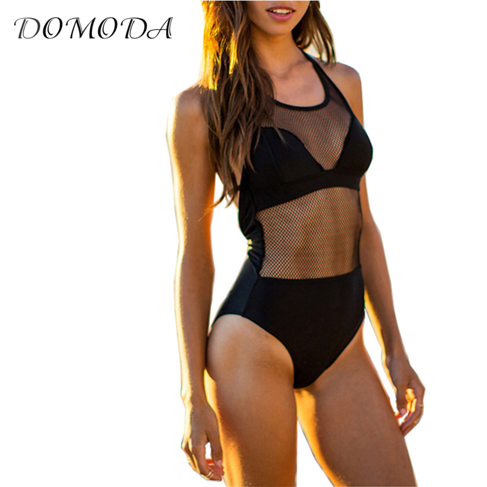 DOMODA 2017 New Fashion Women Sexy Mesh Lace Patchwork Bodysuits Backless Sleeveless Slim Playsuits Beach Rompers Overalls