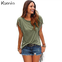 Ksenia Blouses Shirts 2017 Fashion Loose Women Tops Casual Blouses Sleeveless Tassel Cotton Solid Mujer Blusa