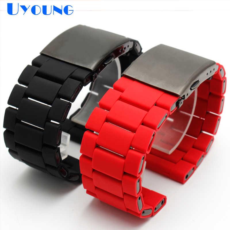 Gomma di silicone watch band mens impermeabile per diesel cinturino di vigilanza della fascia del braccialetto 28 millimetri DZ7370 DZ7396 DZ428 in acciaio inox b