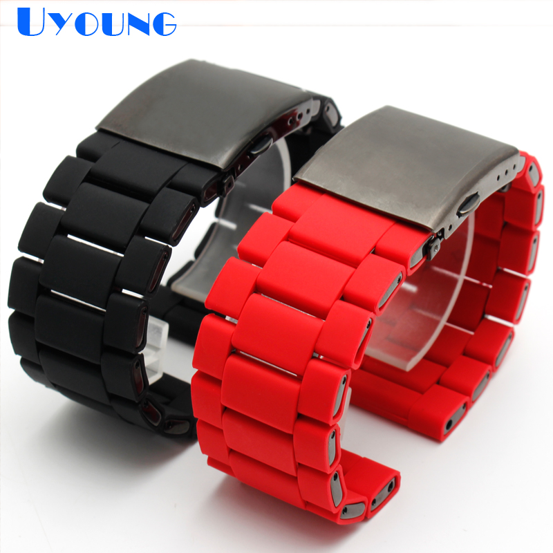 silicone rubber watch band mens waterproof for diesel watch strap bracelet band 28mm DZ7370 DZ7396 DZ428 stainless steel b-in Watchbands from Watches