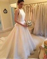 In Fashion Halter Ball Gown Wedding Dress 2018 Bridal Gown Matte Satin Court Train Charming Bride Dress