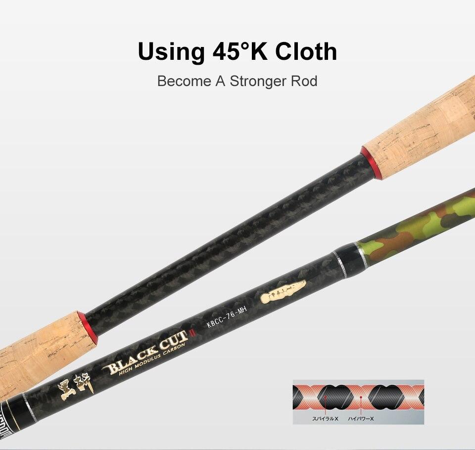 Kingdom Black Cut Spinning Casting Fishing Rod Carton MH, H Power Ultralight Telescopic Fishing Rods 2.39m, 2.49m Travel Rod (13)