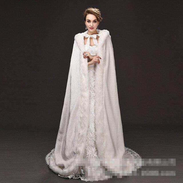 Jaqueta Casamento Xale De Pele De raposa longo trem vestidos de Noiva Envolve Bolero Casaco De inverno Casamento Capa Faux Fur Estolas de casamento bolero 2016 nova