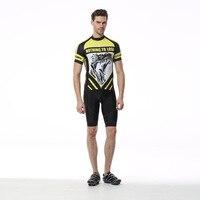 2017 New Summer Hommes Cyclisme Ensemble Jaune À Manches Courtes Anti-sueur 3D Pad Cuissard Vélo Vélo Jersey Costume Sportswear Ciclismo
