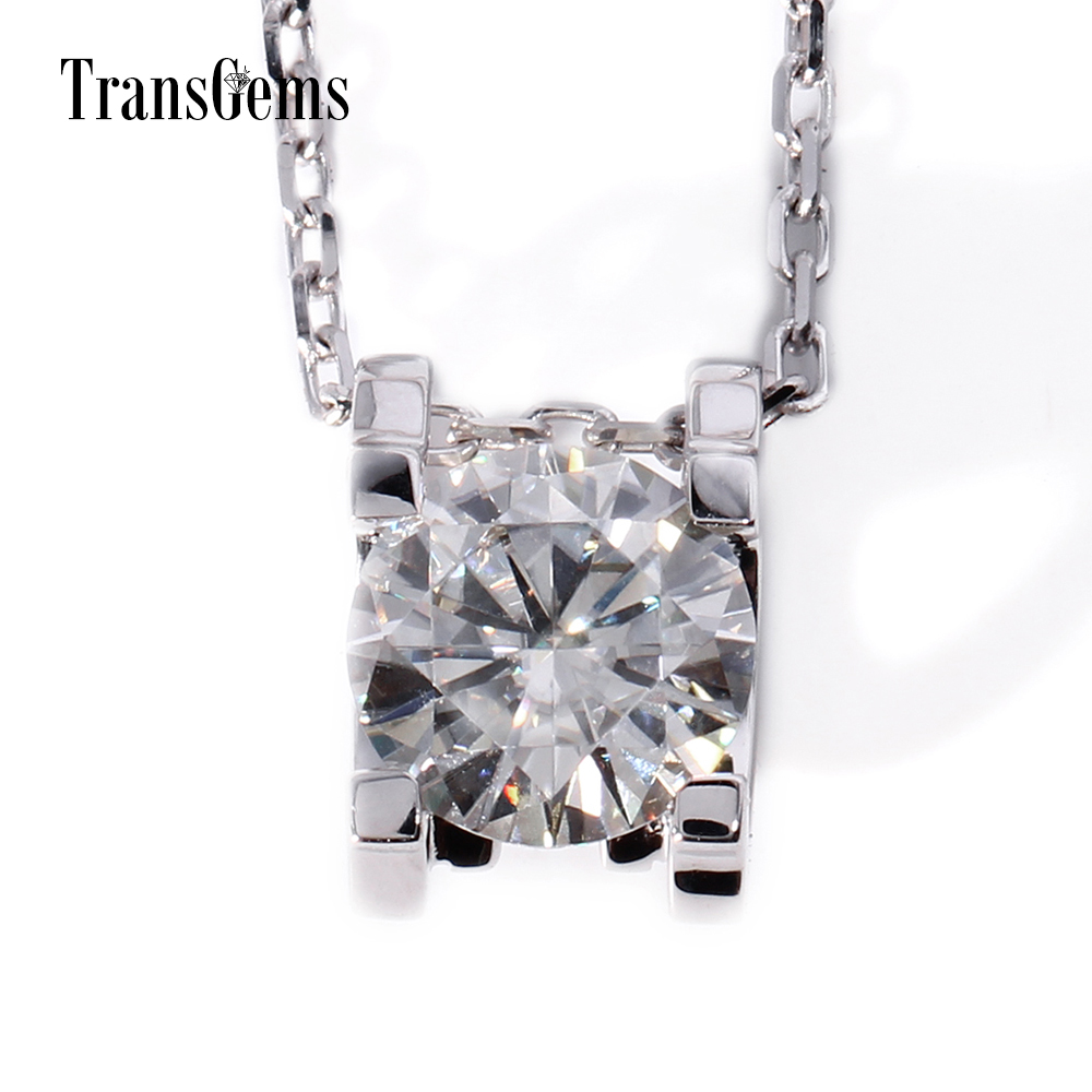 TransGems 18K White Gold 1 Carat Lab Grown moissanite Diamond Solitaire Pendant Necklace Solid Necklace for Women transgems 18k white gold 0 5 carat 5mm lab grown moissanite diamond solitaire pendant necklace for women jewelry wedding