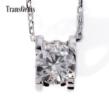 TransGems 1 Carat Lab Grown Moissanite Diamond Solitaire Pendant Necklace Solid 18K White Gold for Women