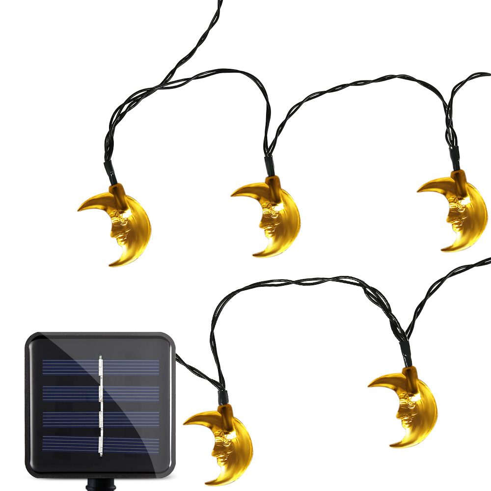 Outdoor Solar Panel String Lights Waterproof 20 LEDs Lovely Moon String Lamp Holiday Lighting Home Yard Christmas Decoration