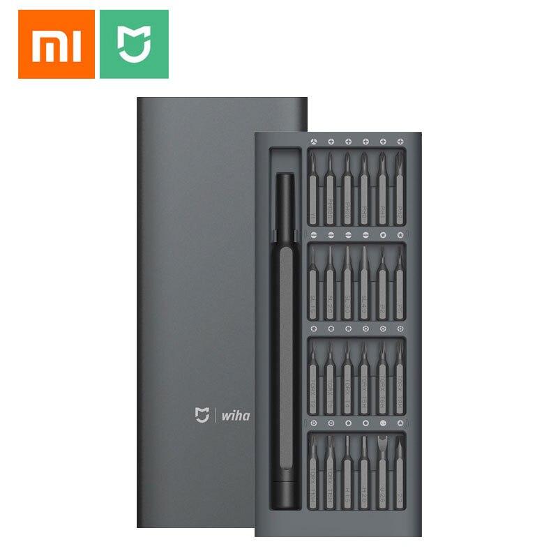 Xiaomi Mijia Wiha utilisation quotidienne Kit d'entraînement à vis outil de réparation 60HRC 24 embouts magnétiques de précision boîte en aluminium Xiaomi Kit de maison intelligente