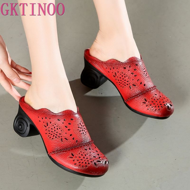 GKTINOO 2019 Summer Hollow Genuine Leather Sandals Comfortable Fashion Sandals Slipper Non slip High Heels Women