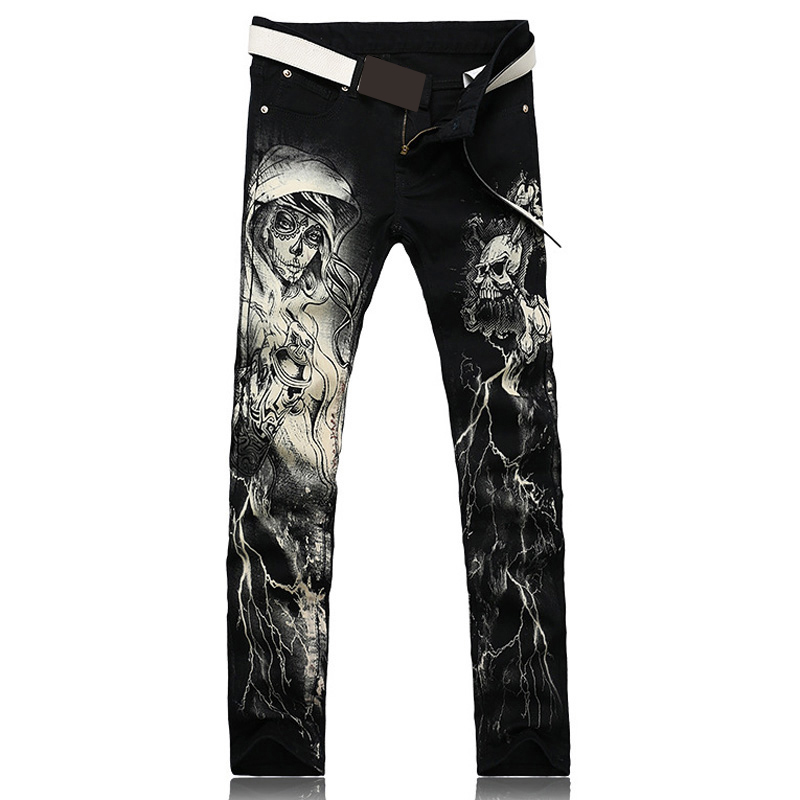 Punk Style Men's fashion skeleton skull printed   jeans   Male slim fit black denim pants Long trousers