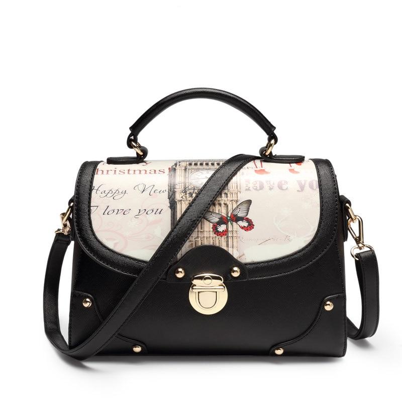 England Style Printing Bag Women Designer Messenger Bag Classic Flap Hand Bag Ladies Gergours PU Single
