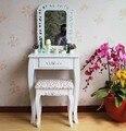 Queen Anne Branco Compõem Mesa Cômoda Vaidade Definir Swivel Espelho Oval com Fezes Cômoda De Madeira Com Penteadeira
