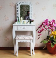 Queen Anne White Make Up Table Dresser Vanity Set Swivel Oval Mirror with Stool Wood Dresser With Dressing Table