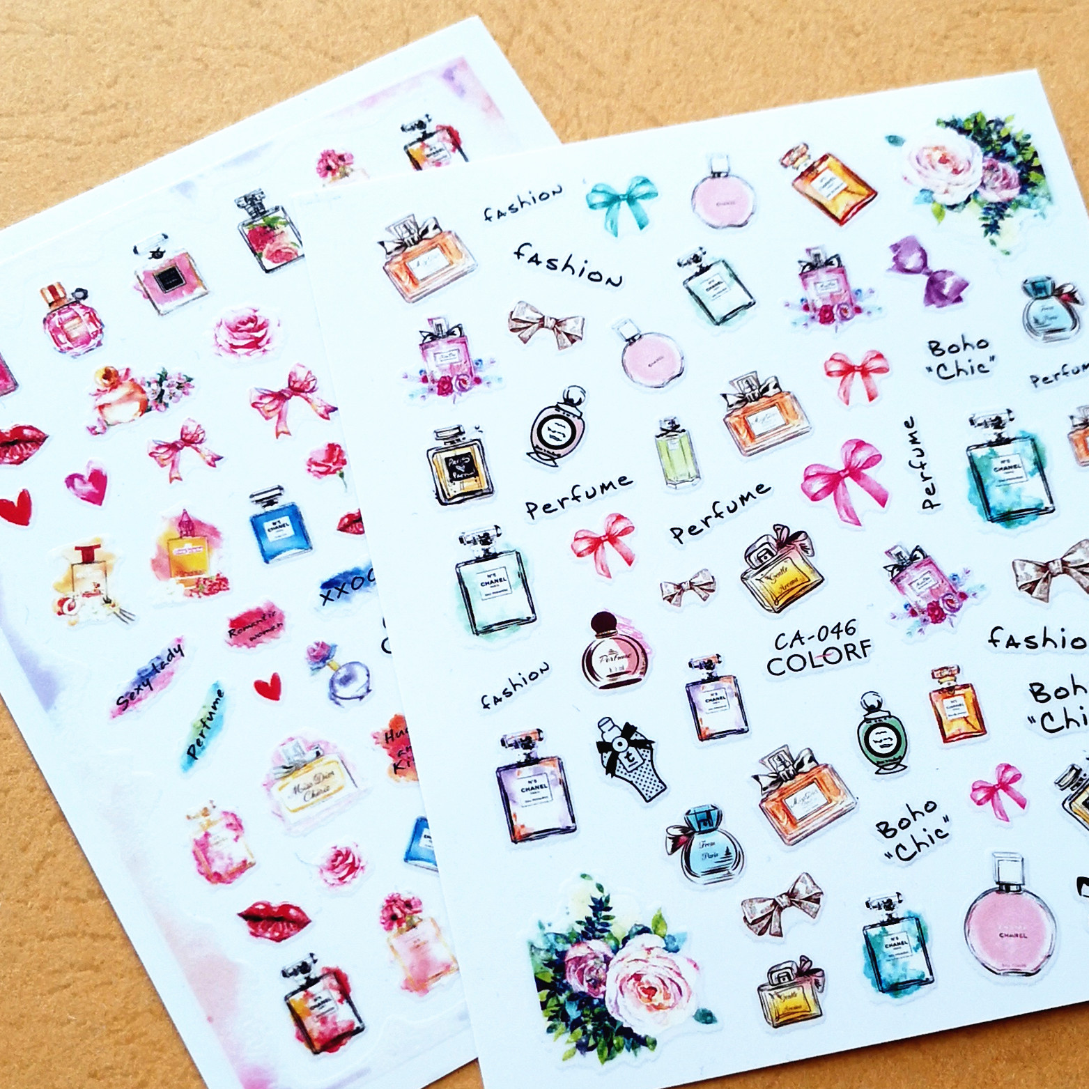 Newest CA 46 47 48 545 3d nail sticker back glue nail decals Japan korea type DIY nail decorations for nail wraps in Stickers Decals from Beauty Health