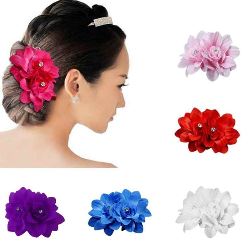 6 Styles Women Hair Decoration Bridal Head Flower Fabric Color Flower Small Hairpin Rhinestone Wedding Headdress Hair Clip