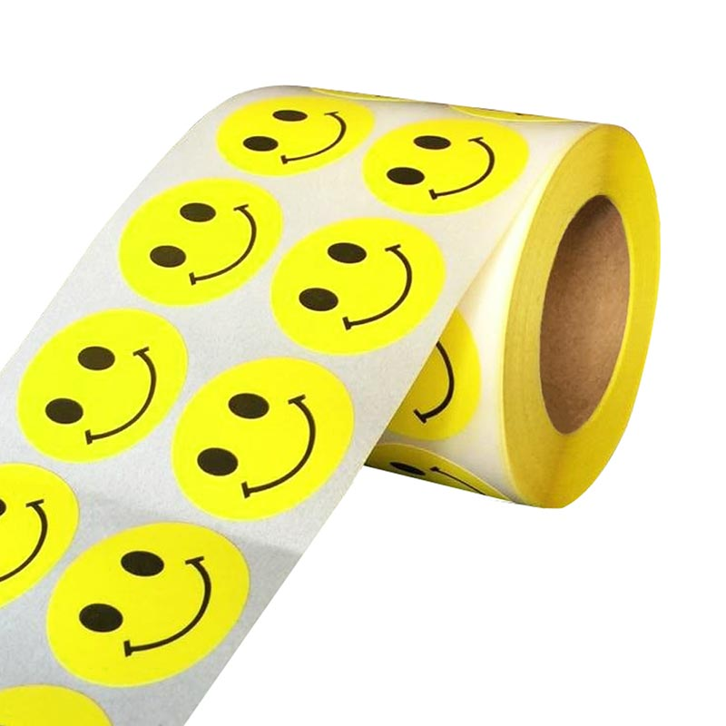 "Smart Sticker Yellow Smiley Happy Stickers 1"" Round Circle Retail Labels 1,000 Total"