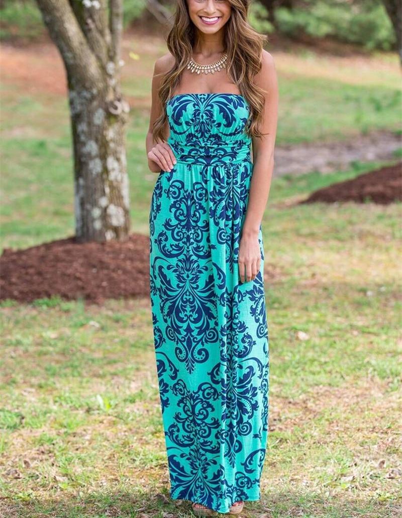 532932cbe6 Dropwow 2018 Summer Women Long Beach Dress Bohemian Sleeveless ...