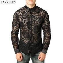 남자의 섹시한 블랙 레이스 셔츠를 통해 볼 슬림 맞는 긴 소매 Fishnet Clubwear 셔츠 남자 꽃 자수 투명 쉬어 탑스