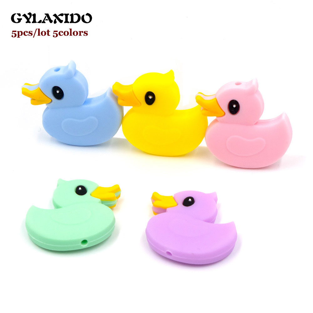 5Pcs Little Duck Perle Silicone Dentition Beads 3cm Animal Cartoon Silicone Kralen Beads Food Grade Teething Beads Baby Products