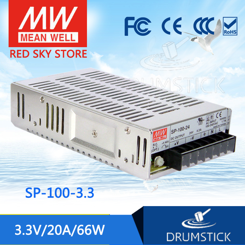 MEAN WELL SP-100-3.3 3.3V 20A meanwell SP-100 3.3V 66W Single Output with PFC Function Power Supply [Real1] [mean well] original sp 150 27 27v 5 6a meanwell sp 150 27v 151 2w single output with pfc function power supply