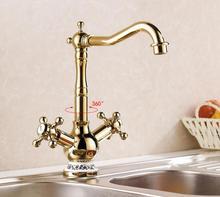 Высочайшее качество Золота кухня холодной и горячей воды смесители смеситель кухонный кран смесители бассейна для дома и сада
