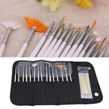 20pcs Nail Art Gel Design Painting Dotting Pen Brushes Bundle Tool Kit with Case