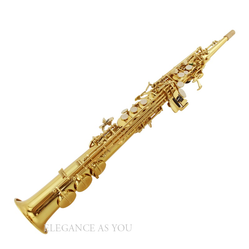 Saxophone Soprano bB droit électrophorétique or tombant air B (C) débutant ano Saxophone boîtier bakelite embout tête