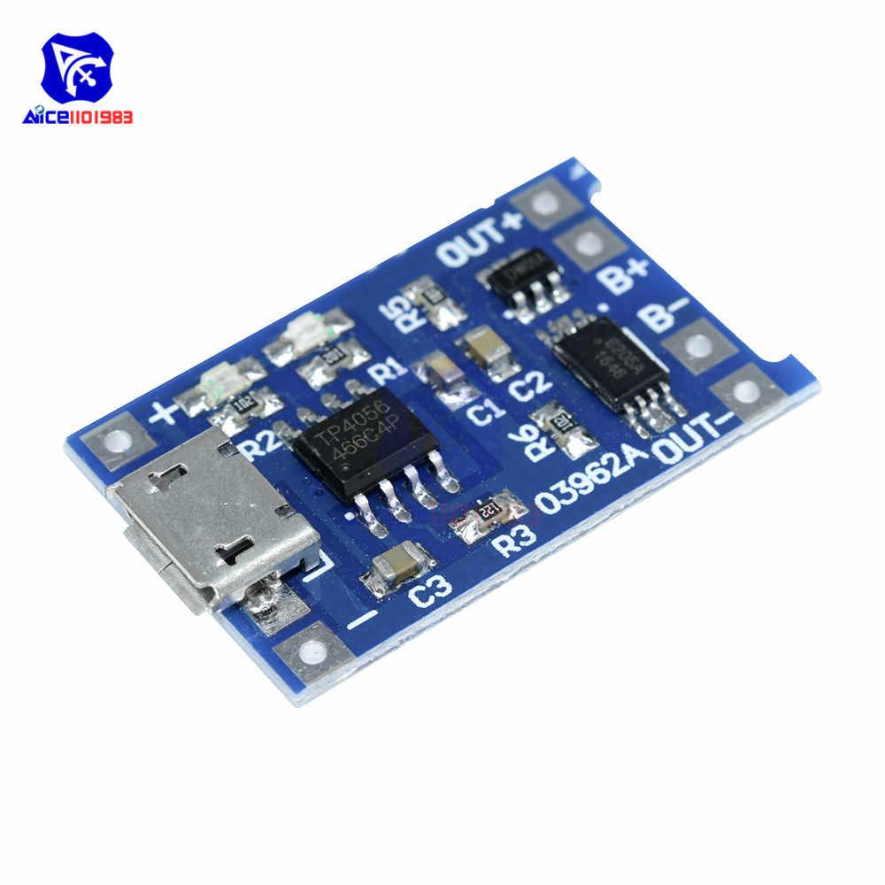 Микро USB 5 V 1A 18650 TP4056 литий модуль зарядного устройства аккумулятора с Светодиодный индикатор заряда защита от разрядки доска