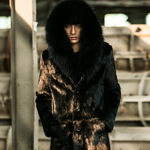 Men's Genuine Leather Clothing Winter 2016 Raccoon Dog Fur Rabbit Fur  Fashion Long Section Coat With Fur Hood GSJ402
