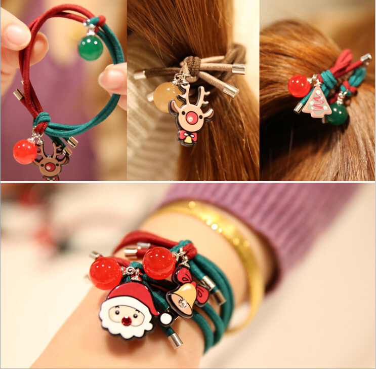 2017 Kawaii Christmas elastic hair rubber band hair ties ring accessories for women girls hair rope scrunchie headdress headwear gorgeous faux feather elastic hair band for women