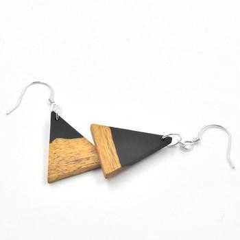 PINJEAS s925 plata de ley sándalo forma de luna triángulo Pendientes de gota geométricos para joyería de mujer