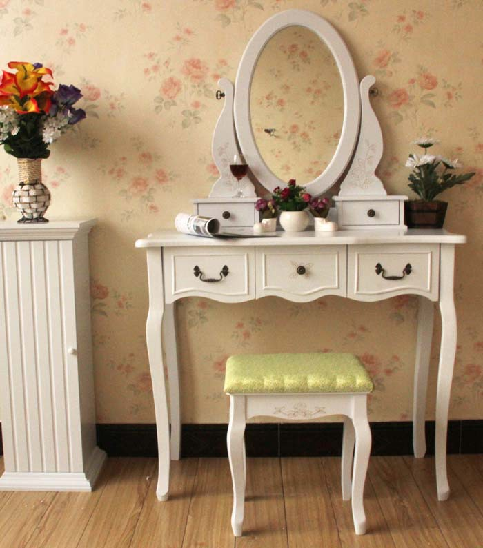 все цены на Queen Anne White Make Up Table Dresser Vanity Set Swivel Oval Mirror with Stool Wood Dresser With Vanity Table