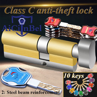 Door cylinder 60 65 70 75 80 85 90 95 100mm Security Copper Lock Cylinder Security door Interior Bedroom Living Handle10 Keys