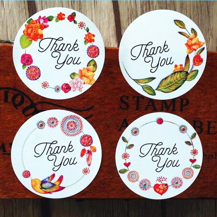 120pcs Thank you flower gift sealling label Adhesive Baking Seal Sticker students' Stickers For Party Favor Gift Bag Candy Box 120 15sheets 4 designs lovely christmas gift sticker party favor decoration labels packing seals