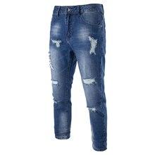 Новое Прибытие джинсы мода углы Отверстий джинсы мужские случайные джинсы мужские Тонкие Брюки молния fly Джинсы синий брюки 28-38