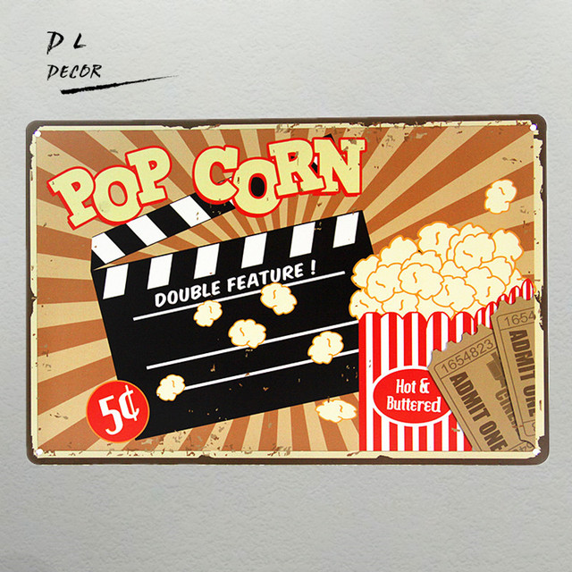 DL-Creative Gifts pop corn Vintage Retro Poster Metal Tin Signs Garage oil station decor Assorted Designs
