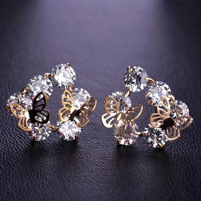 a6144f636 Korean Fashion Dual Butterfly Starry CZ Zirconia Jewelry Copper Stud  Earrings Ear Piercing Bijoux Antiallergic Aretes