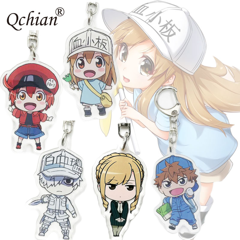 Anime Hataraku Saibou Keychain for Men Women Erythrocyte Platelet Key Chains Ring Holder Acrylic Pendants