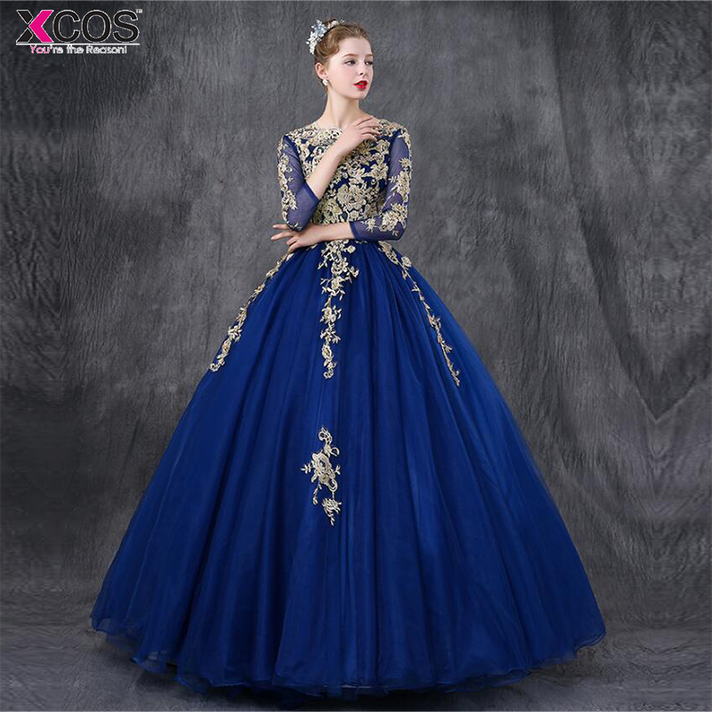 1b343add6c5 Royal Blue Quinceanera Dresses 2018 Three Quarter Sleeves Lace Applique Beaded  Ball Gown Sweet 16 Dresses