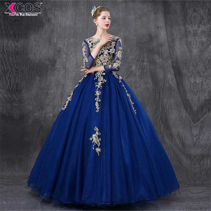 c643f607e63 Royal Blue Quinceanera Dresses 2018 Three Quarter Sleeves Lace Applique  Beaded Ball Gown Sweet 16 Dresses