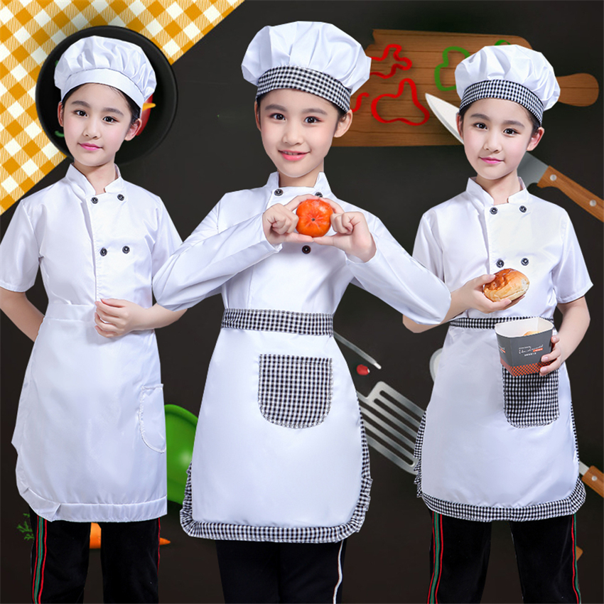 New Children Cosplay for Kids Chef Costumes Chef Uniform Jacket Cap Aprons Clothing Set Kindergarten Kitchen Cook Wear Costume