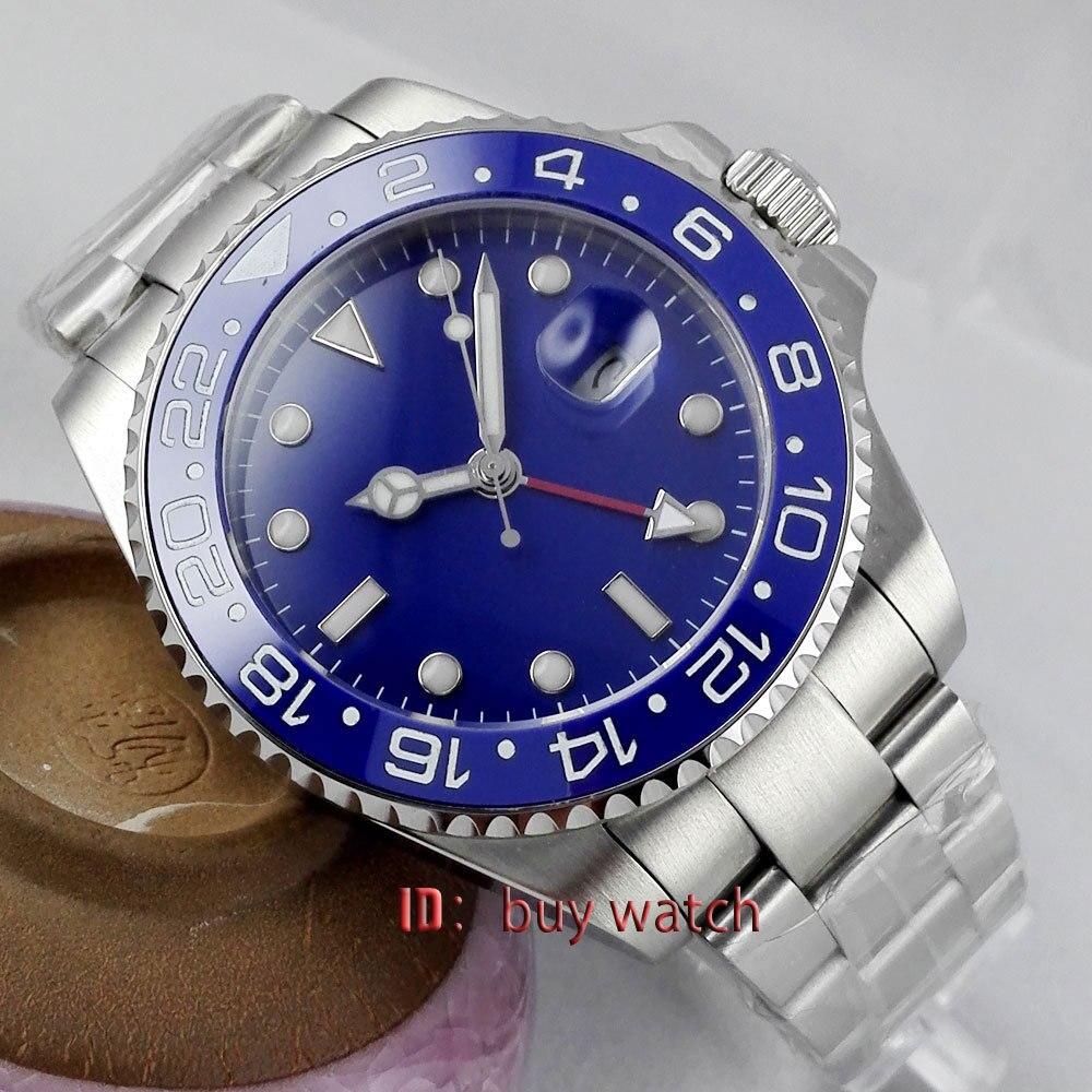Aktiv 43mm Parnis Blau Zifferblatt Gmt-master Keramik Lünette Sapphire Automatische Herren Uhr 297