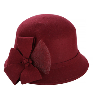 Image 4 - Винтажная Стильная осенне зимняя 100% шерстяная фетровая шляпа для женщин с цветами, верхняя шляпа для девушек, Женская флоппи Кепка с бантиком
