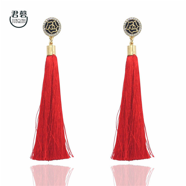 nuevo estilo 97d6f a9331 € 3.51  Marca de moda Rosa flor diseño rojo borla larga Pendientes para las  mujeres vintage rhinestone declaración cuelgan Pendientes de gota jq347 en  ...