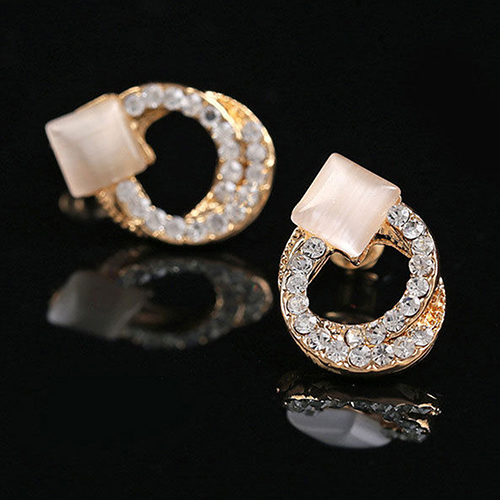 Bluelans 1 paire mode femmes dame élégant cristal strass oreille Stud or ton boucles d'oreilles