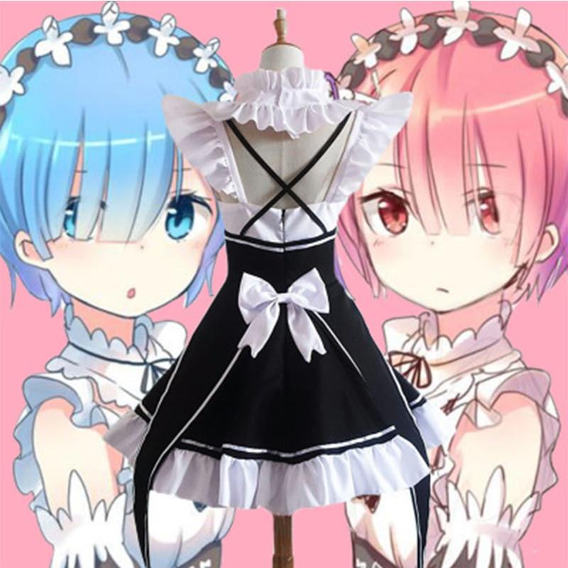 Rem ram maid cosplay trajes re: zero kara hajimeru isekai seikatsu kawaii cos vestidos re vida em um mundo diferente anime empregada doméstica