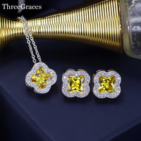Famous Brand White Gold Plated Micro Pave CZ Diamond Women Necklace And Earrings Jewelry Sets With