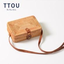 купить TTOU Bali Island Hand Woven Bag Round Bag buckle Rattan Straw Bags Satchel Wind Bohemia Beach Circle Bag по цене 850.61 рублей